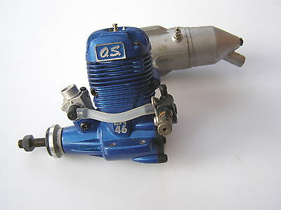 OS Max LA46 (Blue) model glow engine with exhaust