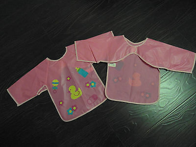 NEW 2 x Baby Girls Pink Plastic Large Bibs with Sleeves Ideal for Weaning