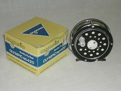 VINTAGE OLYMPIC No 420 FLY FISHING REEL W/ ORIGINAL BOX LOADED WITH LINE