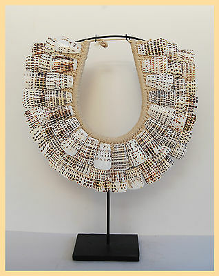 Oceanic Necklace - Dotted White Shell Plate Neck-Ring, From Papua New Guinea