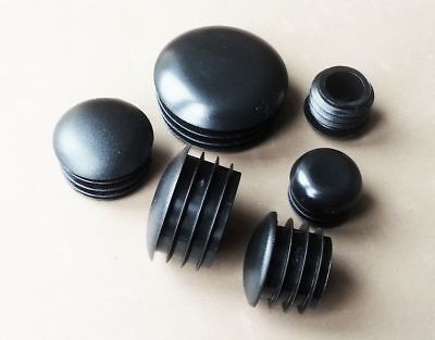 Round End Caps Half Dome Plastic Blanking Plugs Pipe Tube Inserts  / BLACK