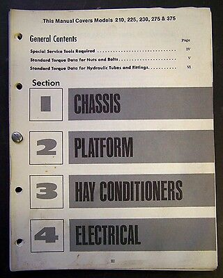 International Harvester 210-225-230-275-375 Windrowers Chassis Service Manual