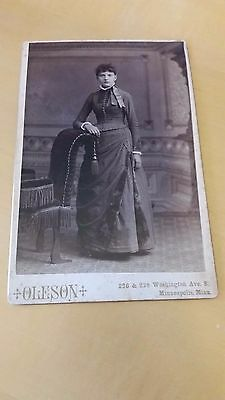 Very Pretty Minneapolis MN Woman Full Length Pose Nice Dress c 1880 Cabinet Card