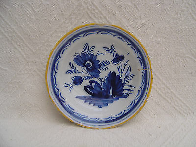 ANTIQUE 19th CENTURY HAND PAINTED DELFT POTTERY PLATE / BOWL