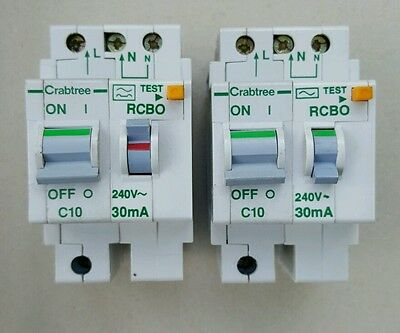 TESTED Crabtree Polestar RCBO 10Amp 30mA Double Pole MCB/RCD Type C 10A 602C/103