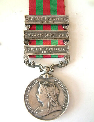 British Indian Army Military India Medal Relief Of Chitral Tirah Punjab 3 Bar