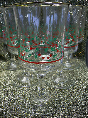 6 Arby's 1986 Wine/Water Stems Christmas Holly Berry Decoration