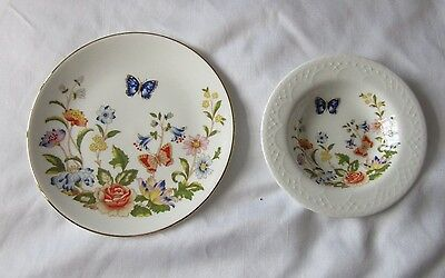 1 Aynsley Plate & 1 Small Dish 'Cottage Garden'