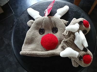 Lovely New With Tags 100% Cotton Lined Reindeer Hat And Mits 6-12 Months