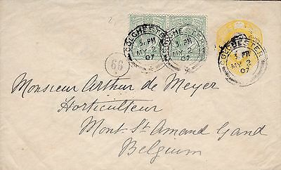 1907 1½D Yellow Stamped To Order Envelope + ½D Stamp Pair Colchester To Belgium
