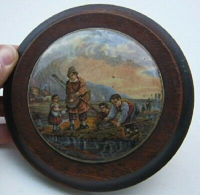 Attractive Prattware Pot Lid The Shrimper Early 1860's In Fine Quality Frame