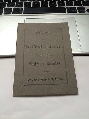 Rare 1919 Antique Knights Of Columbus Stafford Ct Conn By Law Booklet Council