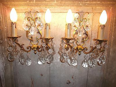 French pair of patina gold bronze crystals wall light sconces gorgeous
