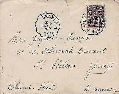 Jersey 1898 Envelope From France With Arrival Cds
