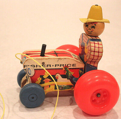 """#629 1961 Antique Fisher Price 6"""" wood Pull Toy farmer tractor vintage nice"""