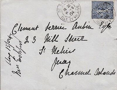 Jersey 1904 Envelope From France, Squared Circle Arrival Mark On Reverse
