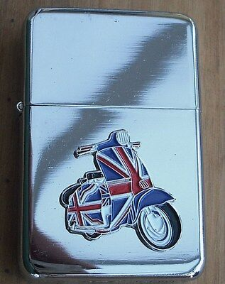 Lambretta Union Jack Silver Star Lighter With 3D Scooter On It
