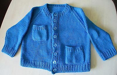 Vintage  Girls  Hand Knit By Nana Blue Cardigan Age Approx  2-3-4 Vgc