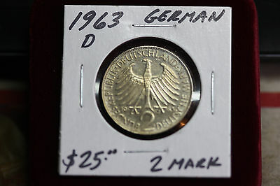 1963-D German, 2 Marks, Nice Condition Coin!