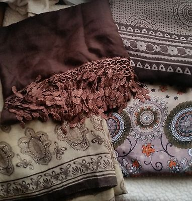 Brown And Beige Scarves Small Job Lot Of 4 Scarves Large Size