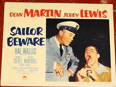 "SAILOR BEWARE orig 1952 Lobby Card Jerry LEWIS close up 11"" x 14"""
