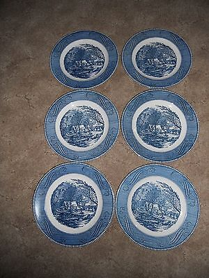"""Royal Currier & Ives Lot of 6 The Old Grist Mill 10"""" Dinner Plates EUC"""