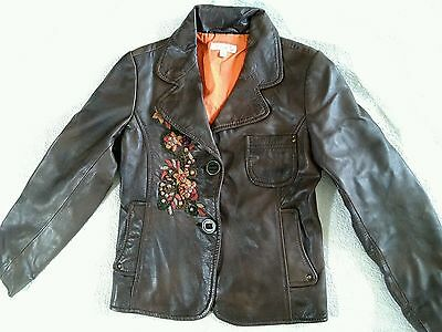 Girls brown real leather jacket age 7-8 years