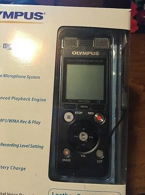 olympus dm-670 portable digital voice recorder including leather case