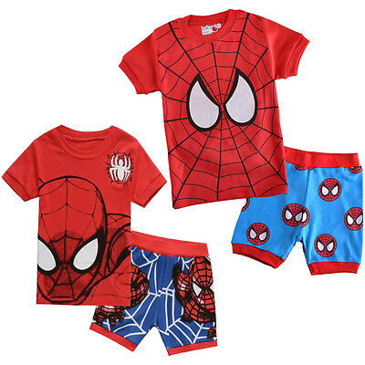 2 pz SpiderMan Baby Boy Bambini Cool Outfit Top Di Cotone T-shirt Set Pantaloni