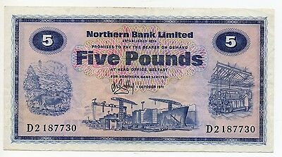 NORTHERN IRELAND ~ NORTHERN BANK LIMITED £5 BANKNOTE  D 2187730 1st OCTOBER 1971