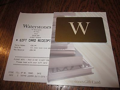 Waterstones Gift Card With Receipt Value £38.94- No Reserve