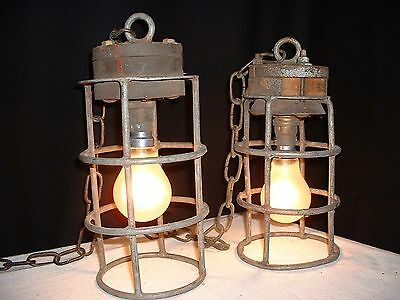 Old pair iron wood industrial chandelier lamp from France