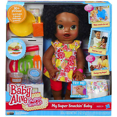 hot Baby Alive Super Snacks Snackin' Sara Doll, African American Interactive