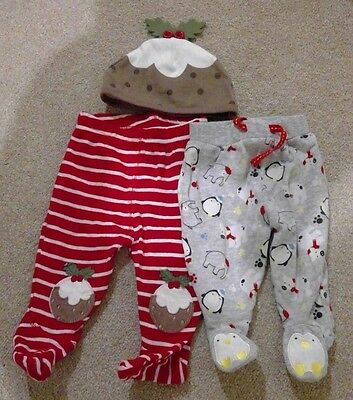 Baby Christmas outfit trousers and pudding hat - Newborn