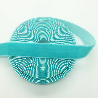 "New 5 Yards 3/4"" 20mm Velvet Ribbon Headband Clips Bow Wedding Decoration Cyan"