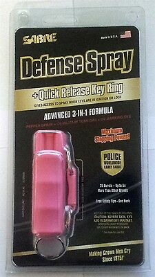 Pink Sabre Red Keychain Pepper Spray Hard Case Self Defense Protection Key Ring