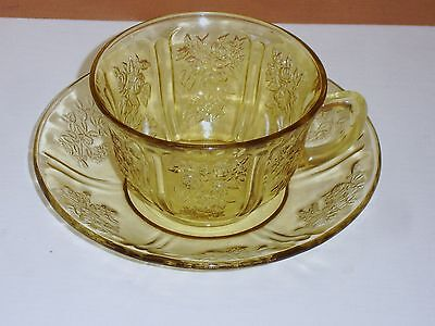 Federal Glass Sharon Cabbage Rose Amber Cup & Saucer
