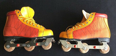 Vintage roller Skates, TriSkates, By Yaxon, Yellow, orange,red, size 43(uk 9)