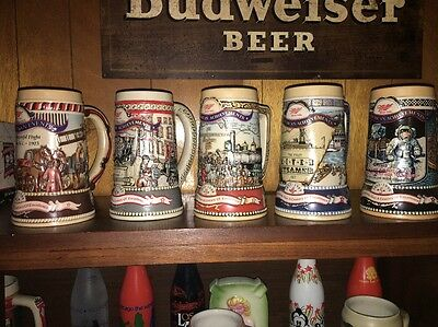 Lot of 5 Miller High Life Beer Steins, Great American Achievements, Complete Set