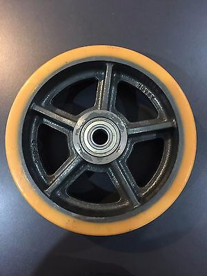 "10"" x 3"" Polyurethane on Cast Iron Wheel with 3/4"" Ball Bearing (1)"