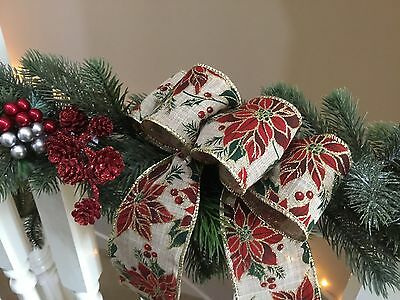 3x Large Christmas Bows, Wire Edge Hessian Poinsettia PATTERN Gold Edge Ribbon
