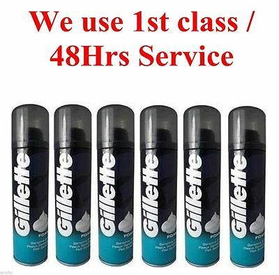 6x Gillette Comfort Glide Shaving Foam Easy Appilication SENSITIVE 200ml