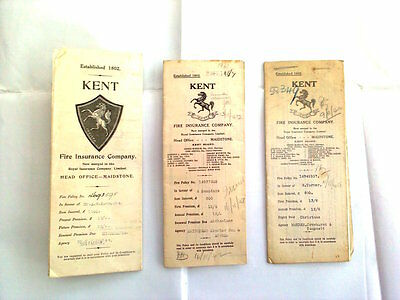Vintage Kent Fire Insurance Documents - Kent  Properties 1919 to 1923