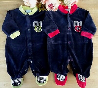 Baby Boy Velour Navy Red Green  All-in-one Romper Playsuit  NB-0-3-6m