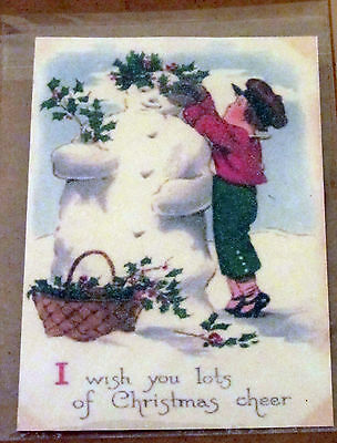 Vintage STYLE Christmas card,REPRO  glittered, snow man boy Victorian holly ivy