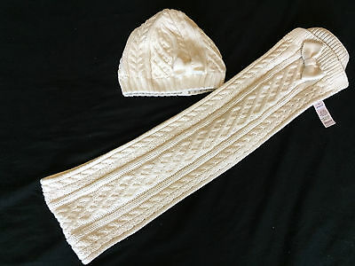 Girls Accessories cream hat/scarf bow detail age 2-4 years