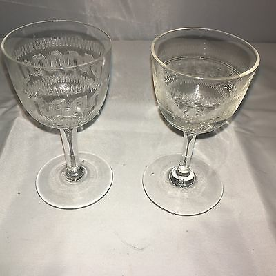 Pair Of Patterned Sherry Glasses