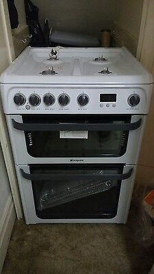 Hotpoint gas cooker , double oven . Jlg60p
