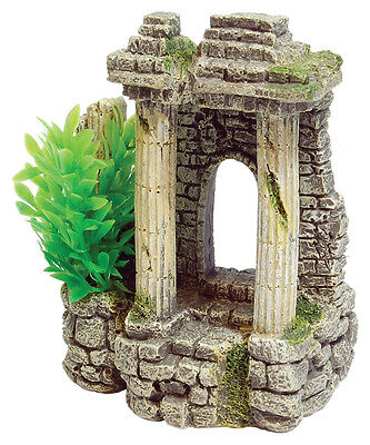 Ancient Columns with Plant Aquarium Ornament Fish Tank Decoration
