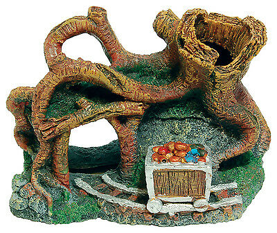 Tangled Tree with Chest Aquarium Ornament Fish Tank Decoration